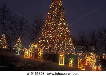 Christmas tree, decoration, Marietta, GA, Georgia, Atlanta, Lights of Life  Christmas light display of Christmas tree and presents at Life College in  ... - Pictures Of Christmas Tree, Decoration, Marietta, GA, Georgia