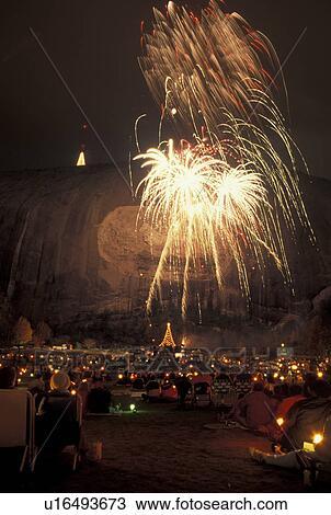 stock photo of fireworks laser show stone mountain atlanta ga