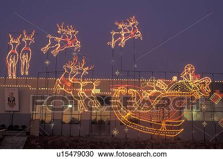 Marietta, GA, Georgia, Atlanta, Lights Of Life Christmas Light Display Of  Santa And Reindeer At Life College In Marietta