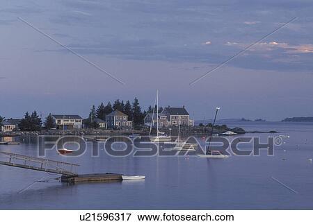 Pemaquid Harbor, ME, Maine, Pemaquid Area, Scenic view of Pemaquid Harbor   Stock Photo