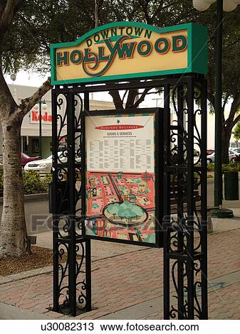 Hollywood Florida Map.Stock Photo Of Hollywood Fl Florida Downtown Hollywood Sign