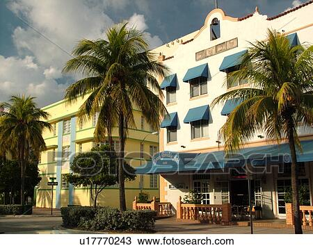 Miami Beach South Fl Florida Ocean Drive American Riviera Art Deco District Paradise Hotel