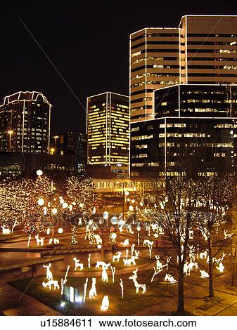 Richmond, VA, Virginia, Downtown, Financial District, Evenings, Christmas  Decorations At The James Center, High Rise Buldings Outlined With White  Lights