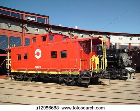 Scranton, PA, Pennsylvania, Steamtown National Historic Site, railroad,  turntable, roundhouse, caboose, steam locomotive Stock Photo