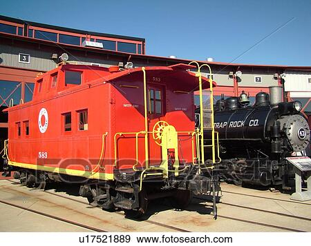 Scranton, PA, Pennsylvania, Steamtown National Historic Site, railroad,  turntable, roundhouse, caboose, steam locomotive Stock Photo