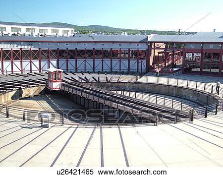 Scranton, PA, Pennsylvania, Steamtown National Historic Site, railroad,  turntable, roundhouse Stock Photography