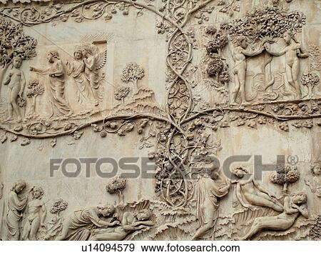 Umbria italy orvieto europe th century bas relief carvings