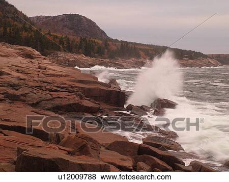 Acadia National Park, ME, Maine, Atlantic Ocean, Mount Desert Island, Otter  Point, scenic coastline Stock Photo