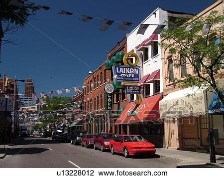 Stock Photo Of Detroit Mi Michigan Motor City Downtown Historic