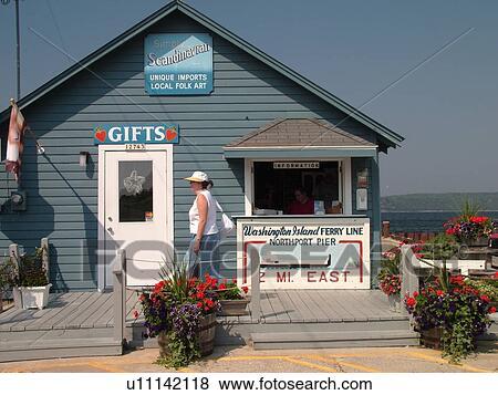 Gills Rock, WI, Wisconsin, Door Peninsula, Green Bay, information,  passenger ferry to Washington Island Stock Photo