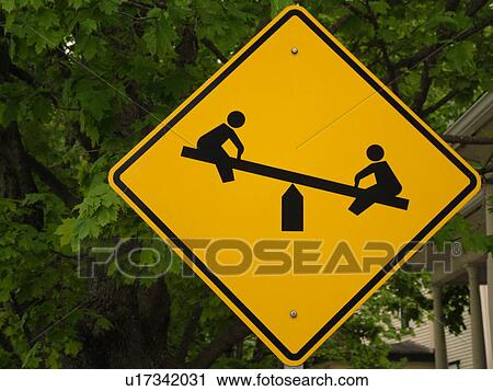 road sign, Playground Ahead sign, children at play ...
