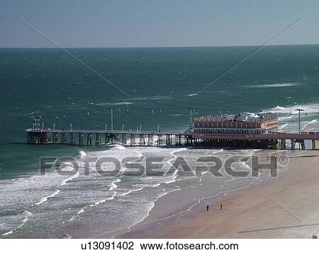 Daytona Beach Fl Florida Ss Atlantic Ocean Aerial Walk Main Street Pier And Boardwalk
