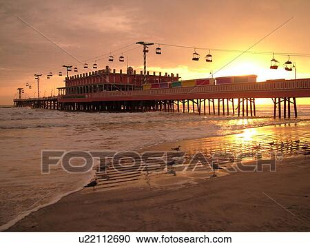 Daytona Beach Fl Florida Ss Atlantic Ocean Main Street Pier Boardwalk Gondola Skyride Sunrise
