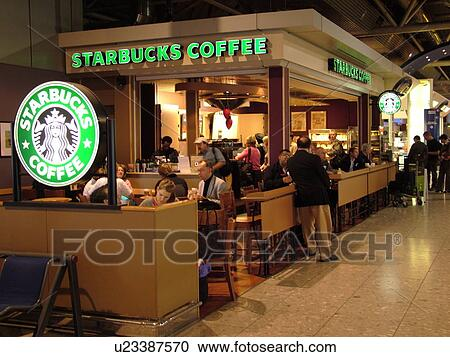 London Great Britain England Europe United Kingdom Heathrow International Airport Terminal Hub Starbucks Coffee