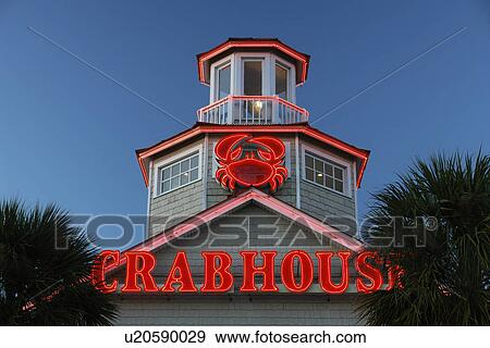 Myrtle Beach Sc South Carolina The Grand Strand Crabhouse Seafood Restaurant Neon Sign