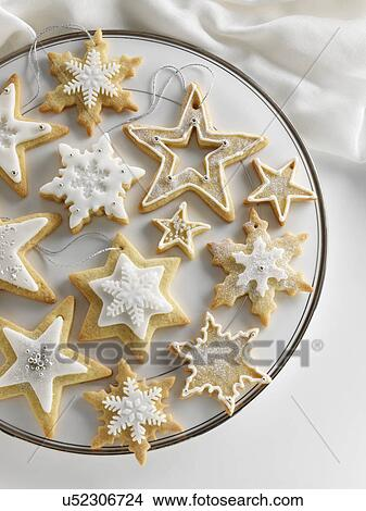 Star Shaped Iced Christmas Biscuits Picture