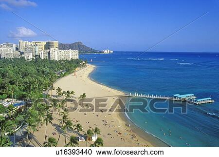Waikiki Beach Honolulu Hawaii Stock Image U16393440