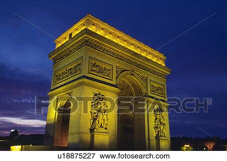 picture of image of the arc de triomphe at night the monument