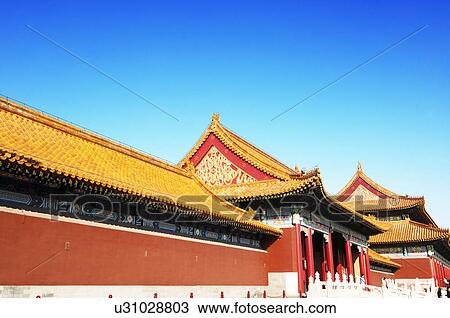 Facade Of A Palace Imperial Forbidden City Beijing China