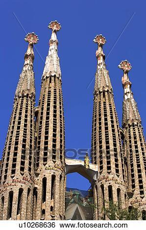 Spain Catalonia Barcelona The Church Of The Holy Family Sagrada Familia Stock Photograph U10268636 Fotosearch