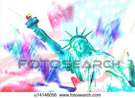 自由の女神 で 旗 背景 イラスト U14146056 Fotosearch