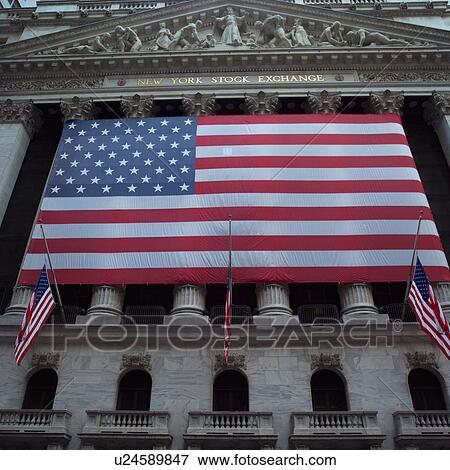 Immagine - bandiera americana, esterno, borsa valori new york, città ...