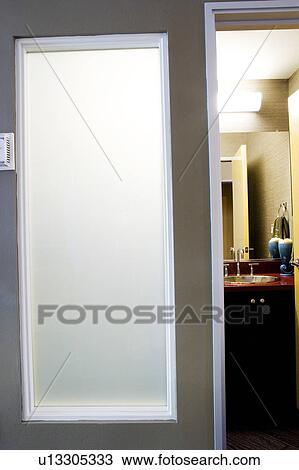 Parfait Verre Dépoli, Fenêtre, Entrée, à, Salle Bains