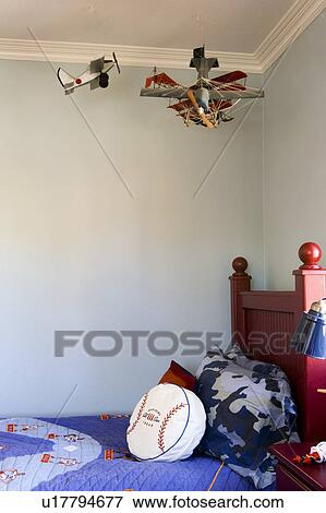 Picture Young Boys Room With Hanging Airplanes Fotosearch Search Stock Photography Photos