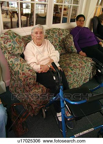 Three Elderly Ladies Visit In A Nursing Home Stock Photograph U17025306 Fotosearch