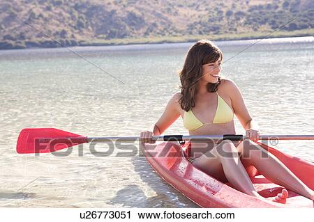stock photography of a woman in a kayak u26773051 search stock