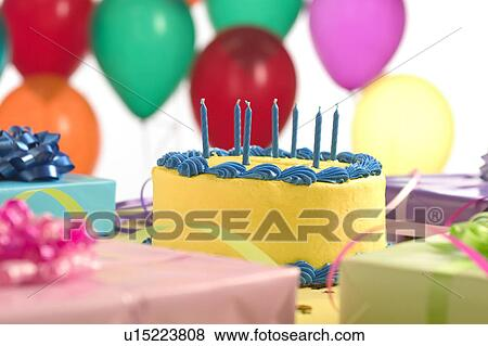 Birthday Cake With Balloons And Presents