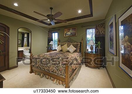 Stock Fotografie - slaapkamer, binnenste, met, plafond ventilator ...