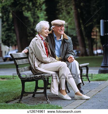 Image of: Face Old Couple Sitting On Park Bench Together Fotosearch Stock Photography Of Old Couple Sitting On Park Bench Together