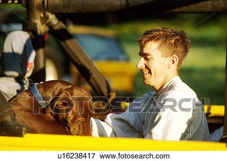 Picture Of Man In Back Of Jeep With Dog U16238417 Search Stock