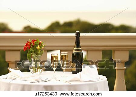 Stock Photography Of Champagne Bottle And Two Champagne Flutes With