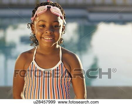 Stock Photograph Of Young Girl In Swimming Costume Portrait