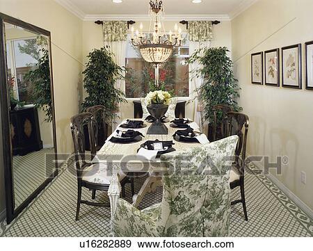 Elegante, verde, sala da pranzo, con, nero, disporre regolazioni ...