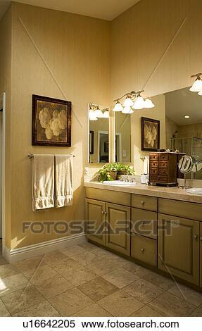 Contemporain, salle bains, à, plancher carreau, rustique, cabinets, et,  murs jaunes Banques de Photographies
