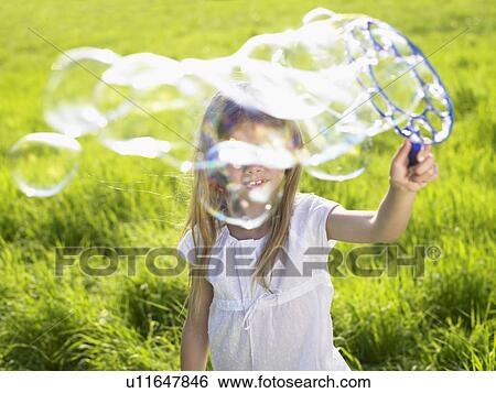Stock Images Of Little Girl Making Soap Bubbles U11647846 Search
