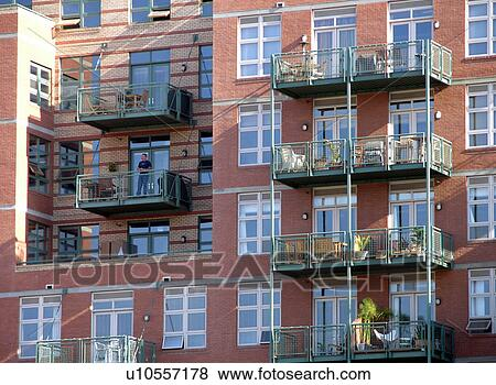 Picture   Balconies Of A Modern Brick Apartment Building. Fotosearch    Search Stock Photos,