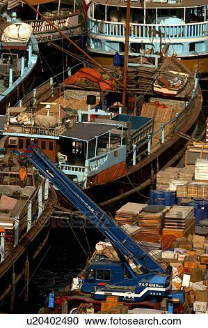 Dubai, deira, dhows, loading, goods Stock Image