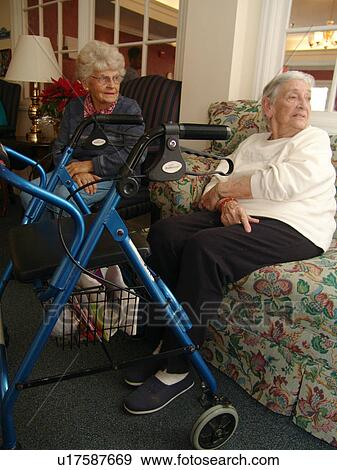 Two Elderly Women Visit In A Nursing Home Stock Photo U17587669 Fotosearch