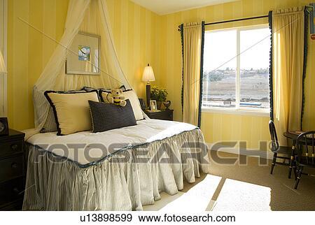 Camera letto bambini, con, giallo nero, ape, tema Archivio Fotografico