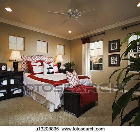 Contemporain, chambre à coucher, à, rouge blanc, accents Banque de  Photographies
