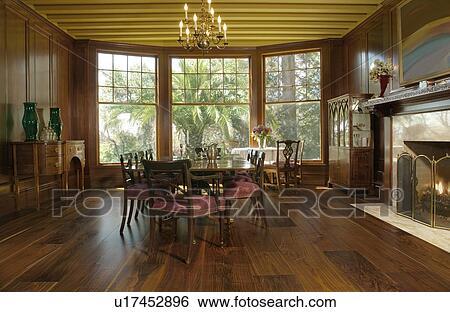 Elegante, sala da pranzo, con, finestre baia, e, caminetto Archivio ...
