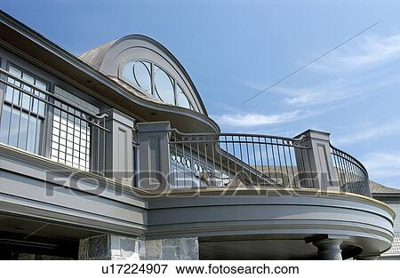 exterior of home with round top window stock photo u17224907