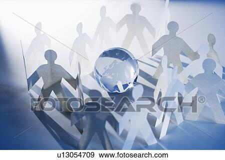 Chain Of Paperdoll Cutouts With Globe In Center