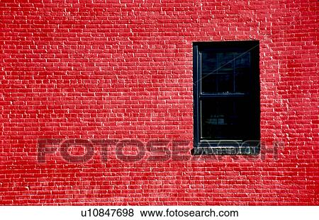 Bright Red Painted Brick Wall With Window