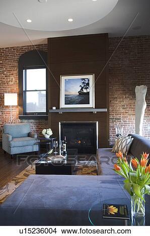 Contemporaneo, soggiorno, con, muro di mattoni Immagine | u15236004 ...