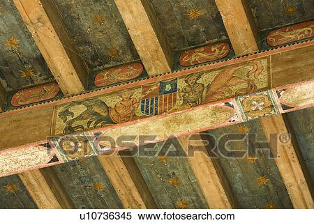 Stock afbeelding detail hand geverfde plafond balken